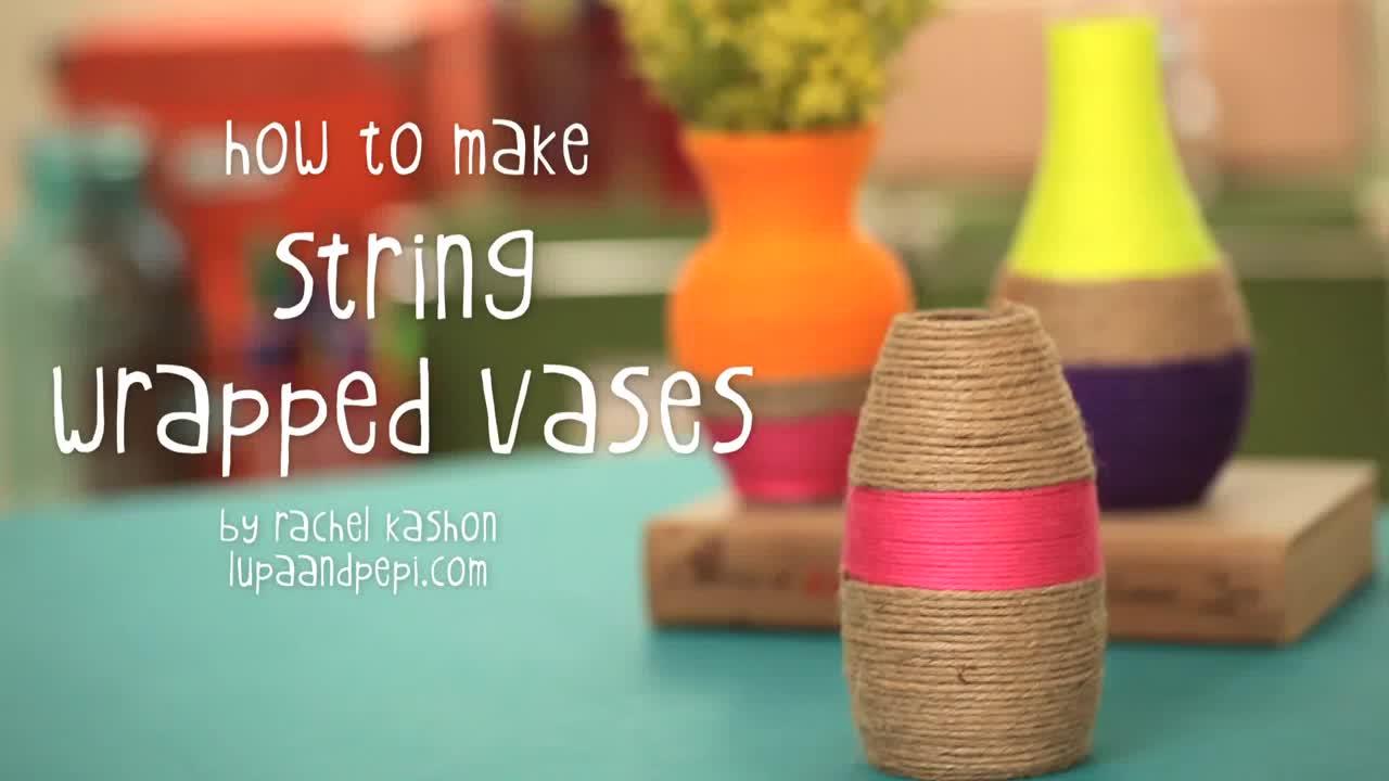 Boş şişelerle vazo yapımı